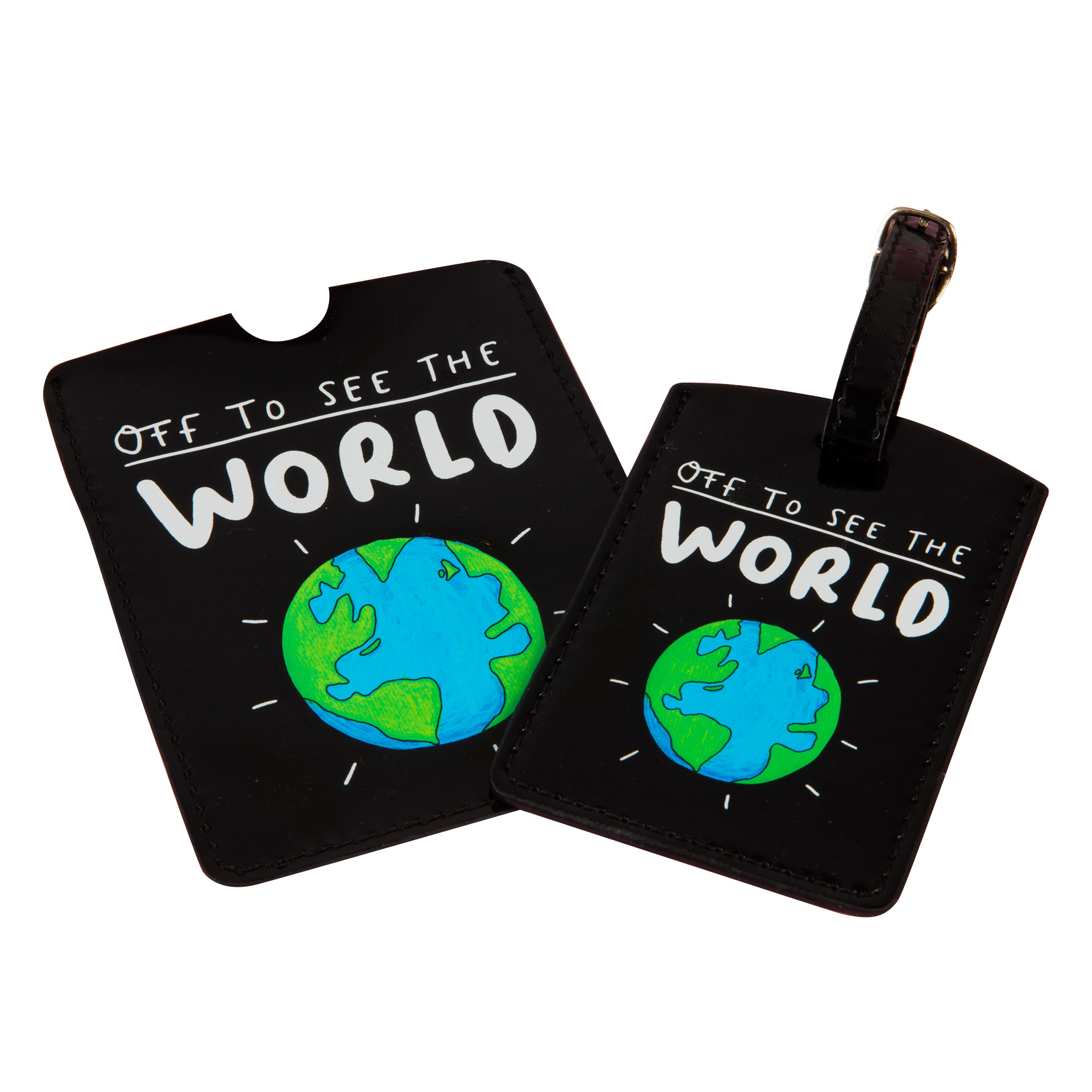The Happy News World Luggage Tag by Emily Coxhead