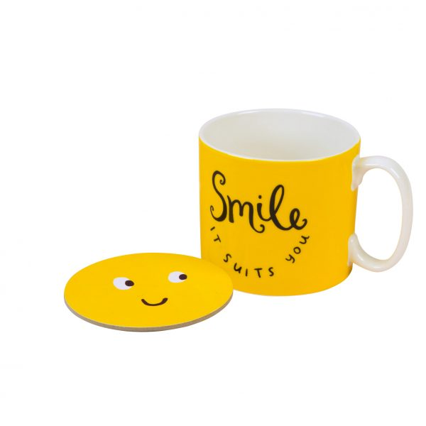 The Happy News Smile It Suits You Mug and Coaster set by Emily Coxhead
