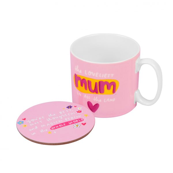 The Happy News Mum Mug and Coaster Set by Emily Coxhead