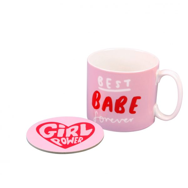 The Happy News Girl Power Mug and Coaster Set by Emily Coxhead