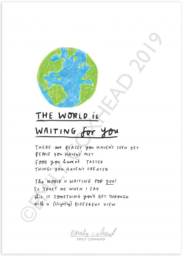 The Happy News The World Is Waiting For You A3 Limited Edition print by Emily Coxhead